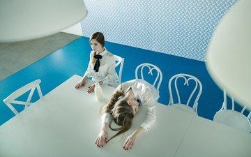 стиль, интерьер, стол, девушки, молоко, модели
