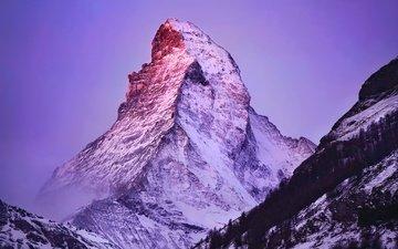 свет, горы, снег, зима, гора, альпы, вершина, маттерхорн