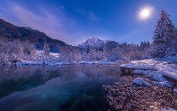 свет, ночь, озеро, горы, снег, зима, луна