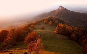 свет, утро, туман, замок, осень, дымка, холм, германия