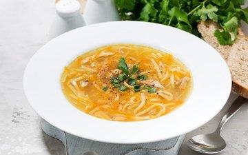 зелень, хлеб, тарелка, ложка, петрушка, суп, лапша