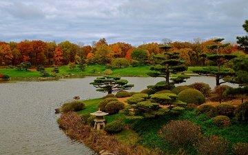 трава, деревья, дизайн, парк, кусты, осень, сша, пруд, чикаго, botanic garden