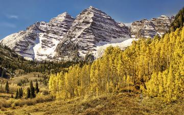 трава, деревья, горы, листья, пейзаж, осень
