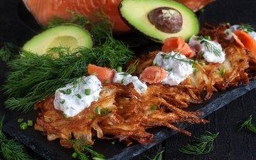 рыба, укроп, соус, авокадо, лосось, драники