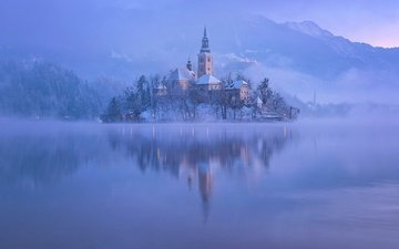 the evening, lake, mountains, sunrise, snow, morning, fog, tower, island, slovenia, lake bled, aleš krivec, winter. reflection