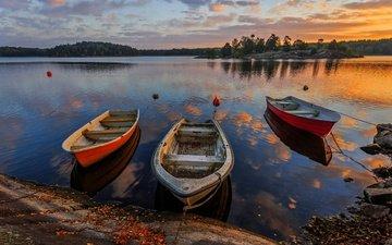 вечер, река, берег, лес, закат, лодки, швеция