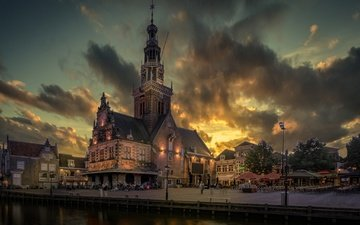 вечер, тучи, дом, набережная, нидерланды, алкмар