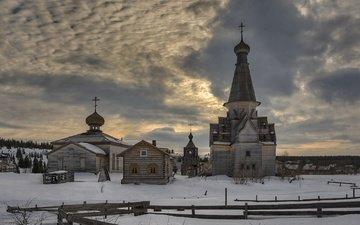 the evening, russia, spring, church, the village, murmansk oblast, varzuga