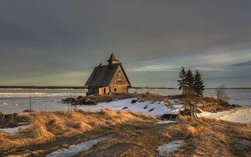 the evening, bay, russia, spring, island, karelia, the village