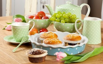 flowers, grapes, fruit, apples, tulips, kettle, cakes, cupcakes