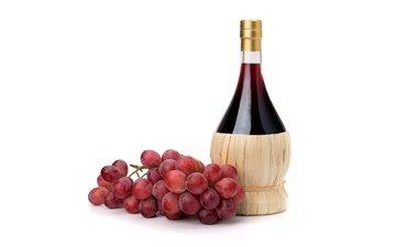 виноград, красный, белый фон, вино, бутылка, гроздь