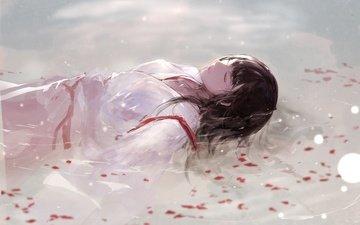 вода, девушка, лепестки, сон, кимоно, akagi, традиционная одежда