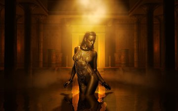 water, girl, look, fantasy, creative, the dark background, hair, outfit, egypt, figure