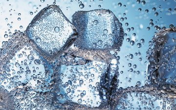 water, macro, ice, cubes, bubbles