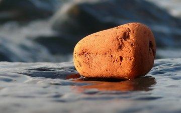 вода, макро, пляж, камень