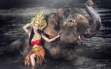 water, style, girl, elephant, outfit, asian