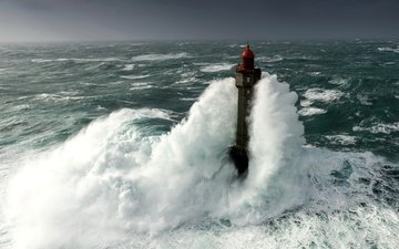 wave, sea, lighthouse, storm