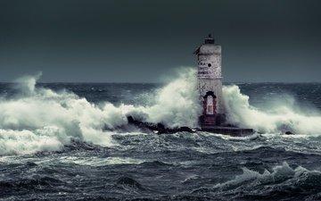 wave, sea, lighthouse, horizon, italy, storm, calasetta, mangiabarche