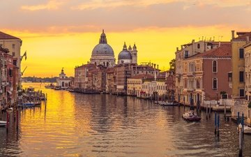 sunset, panorama, the city, venice, channel, italy, europe