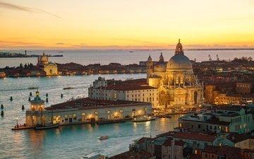 sunset, cathedral, panorama, the city, venice, channel, italy, europe, santa maria della salute, basilica