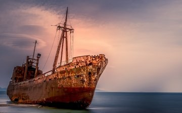 the sky, shore, sunset, sea, ship
