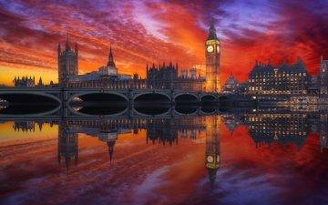 закат, отражение, мост, лондон, англия, биг-бен