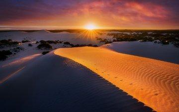 закат, песок, австралия, дюны, южная австралия, остров кенгуру, vivonne bay, little sahara