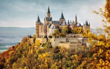 природа, дерево, лес, листья, замок, осень, архитектура, германия, строение, замок гогенцоллерн, hohenzollern, гогенцоллерн