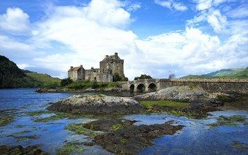 небо, облака, вода, замок, шотландия, замок эйлиан донан