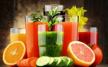 зелень, апельсин, овощи, стаканы, морковь, помидор, цитрусы, сок, огурец, смузи
