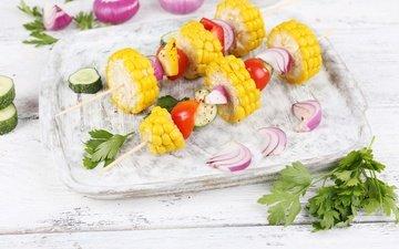 зелень, лук, кукуруза, овощи, помидоры, шашлык, петрушка, огурцы