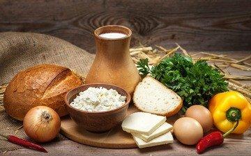 зелень, лук, сыр, хлеб, яйца, молоко, продукты, перец, творог, петрушка, мешковина