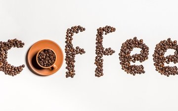 зерна, кофе, чашка, кофейные зерна