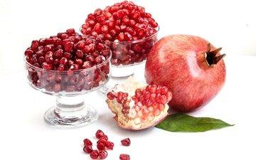 фрукты, зерна, плод, белый фон, гранат