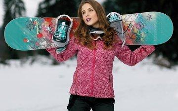 зима, стиль, девушка, взгляд, сноуборд, волосы, лицо, макияж