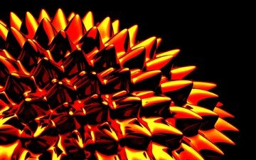 color, orange, black background, spikes, gloss, thorn, 3d