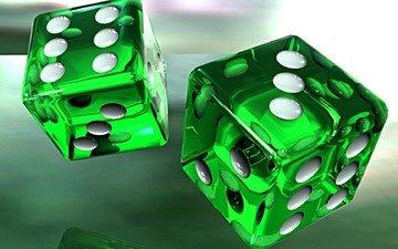 кубики, зеленые, игра, кости, 3д