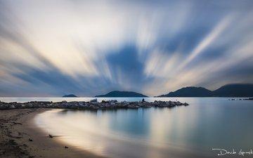 небо, облака, вода, закат, море, италия, лигурия, davide lopresti, леричи