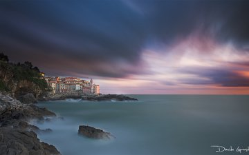 небо, берег, закат, пейзаж, море, италия, davide lopresti, телларо