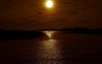 небо, озеро, закат, пейзаж, горизонт