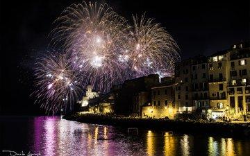 ночь, огни, отражение, город, италия, фейерверк, davide lopresti, портовенере