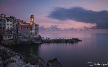 небо, берег, закат, пейзаж, море, горизонт, италия, davide lopresti, телларо