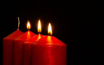 candles, flame, fire, black background, candle