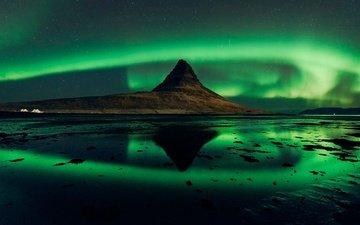 ночь, озеро, отражение, пейзаж, северное сияние