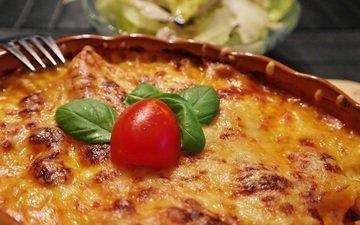 сыр, выпечка, томаты, блюдо, лапша, лазанья