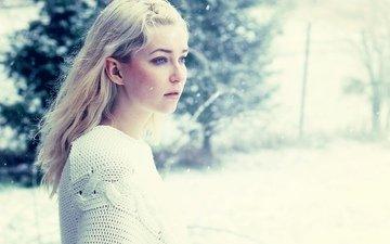 снег, зима, девушка, блондинка, взгляд, голубоглазая
