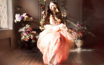 цветы, девушка, настроение, платье, волосы, букет, качели, солнечные лучи