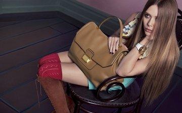 девушка, взгляд, часы, волосы, фотосессия, сумка, элизабет олсен, бренд «miu miu»