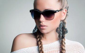девушка, очки, модель, волосы, губы, лицо, сёрьги, косички