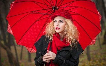 девушка, блондинка, взгляд, осень, модель, зонт, шляпа, шарф